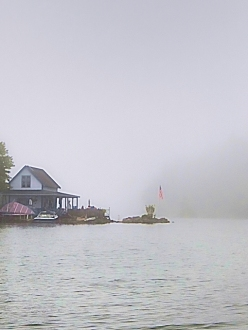 Loon Island appears from the fog