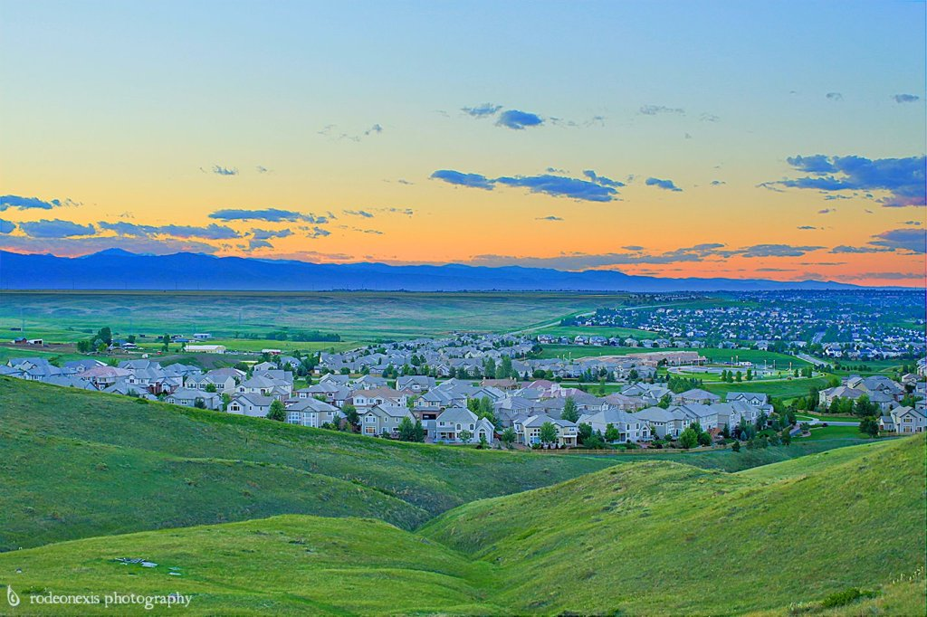 Suburbs of Denver, CO that reach out toward the Front Range Rockies