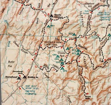 The Needles District segment, thanks to National Geographic Maps