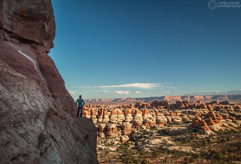 Derek looking out over The Needles District from the northern Chesler Park pass
