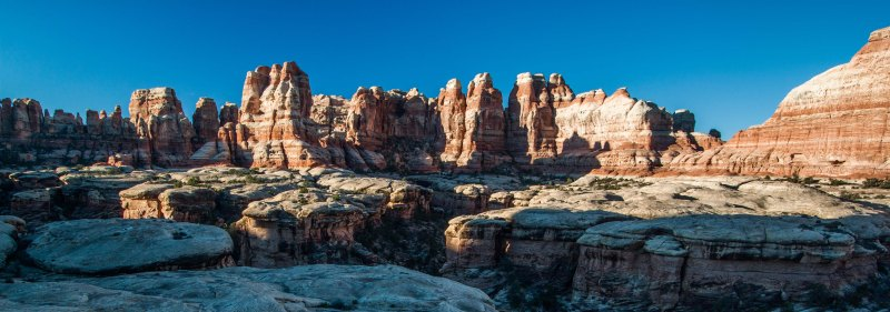 A panorama looking South down Elephant Canyon, high above EC3
