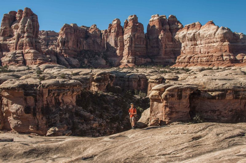 Jeremy soaks in the insane views of Elephant Canyon