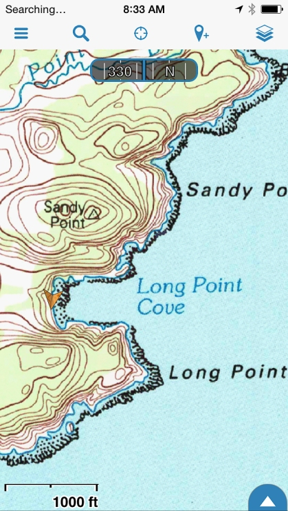 Detail of Long Cove, and an arrow showing the location of the potential site.
