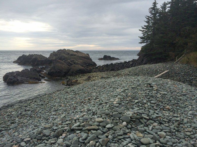 """The beach at Black Point Cove, just before the first """"official"""" campsite"""