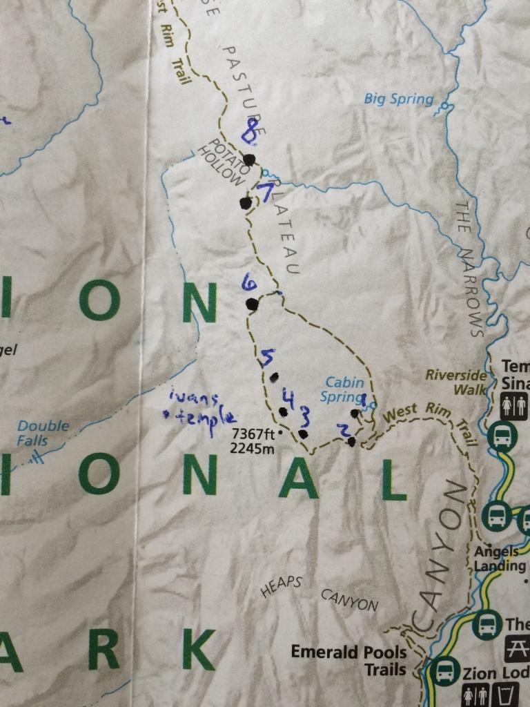 iPhone Shot of Campsites 1-8. West Rim Trail, Zion.