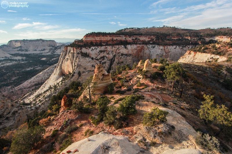 A view from the sandstone dome NW toward campsite 3 and the West Rim Trail.